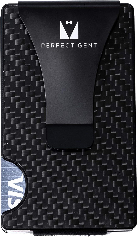 Perfect Gent Carbon Fiber Minimalist RFID Blocking Slim Wallet Sleek No Screws