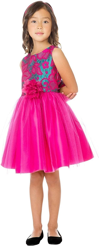 Sweet Kids Big Girls Fuchsia Floral Jacquard Tulle Christmas Dress 7-12