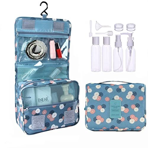 Azornic Travel Folding Make up Toiletry Wash Bags with Hook Organizer Bags Cosmetic Bags - Extra bonus 9 Piece Travel Bottle Set (Blue Flower)