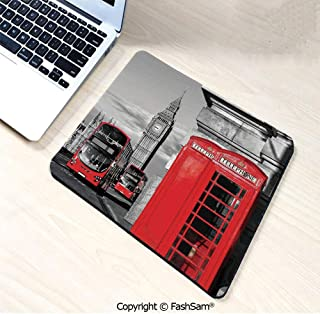 Personalized 3D Mouse Pad London Telephone Booth in The Street Traditional Local Cultural Icon England UK Retro for Laptop Desktop(W7.8xL9.45)