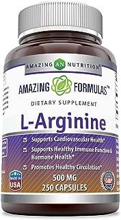 Amazing Formulas L-Arginine 500 mg Supplement - Best Amino Acid Arginine HCL Supplements for Women & Man - Promotes Circul...