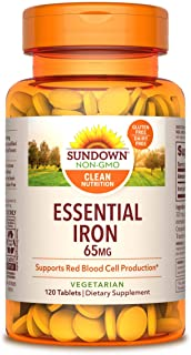 Sundown Naturals Iron Ferrous Sulfate 65 mg, 120 Tablets (Packaging May Vary)