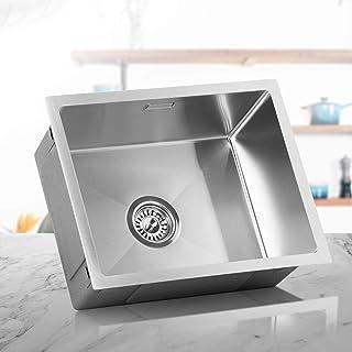 LOMAZOO Spülbecken Edelstahl Küche | Spüle Unterschrank Küchenspüle Einbauspüle Küchenwaschbecken | Kratzfest & Frostschutz-Beschichtung | Mit Schallabsorbierenden Pads | Spüle 40 cm x 50 cm