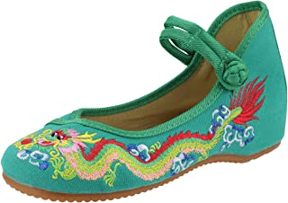 CINAK Embroidered Flats Shoes Comfortable Cotton Dragon Mary Jane Ankle Strap Ballet Loafers Shoes