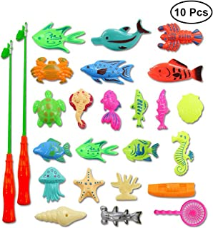 NUOLUX Kids Magnetic Fishing Game Bath Toy with 10 Accessories and 2 Fishing Net 2 Fishing Rod Birthday Gift