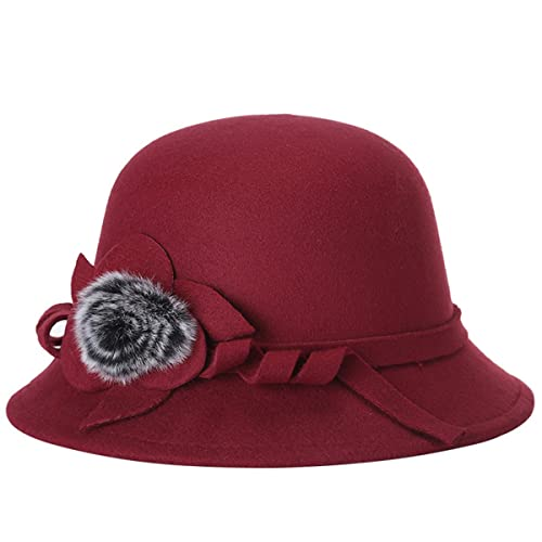 79133149bf8 EUBUY Women Vintage Wool Felt Bowler Hat Winter Fedora Hat Floppy Hat Wide  Brim Cloche Hat