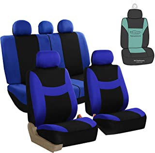 FH Group FB030115 Light & Breezy Flat Cloth Full Set Car Seat Covers Set, Airbag & Split Ready w. Gift, Blue/Black- Fit Most Car, Truck, SUV, or Van