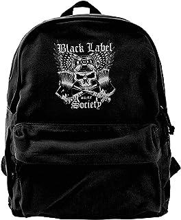 NJIASGFUI Mochila de lona negra con logo de la Sociedad de Etiquetas para Gimnasio Senderismo Portátil Bolsa de hombro Moc...
