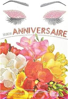 Afie 65-1236 wenskaart voor verjaardag met pailletten voor dames die een bos bloemen aanvoelen Freesia mascara, gemaakt in...