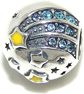 ICYROSE Solid 925 Sterling Silver 'Reach for The Stars'/ Shooting Star with Blue Crystals Charm Bead 541 for European Snake Chain Bracelets