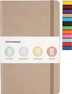 Matt Notebook | Klasyczny dziennik notatnika do pisania, rozmiar: 13 cm x 20 cm, A5, strona w kropki, 160 stron, twarda ok...