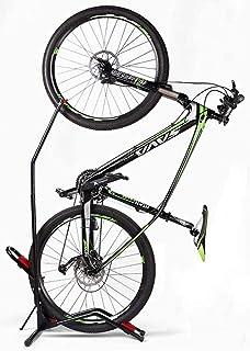 Bike Floor Stand Bike Rack Stand for Vertical/Horizontal Indoor Mountain Bike Road Bike Storage Fits 20-27Mountain Bikes 650C -700C Road Bikes - Space Saving - No Need to Damage Wall Black