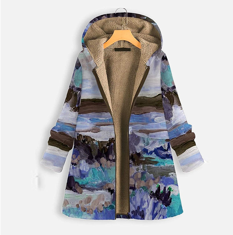 WERVOT Damen Mantel Jacke Herbst Winter Parka Berglandschaft Blumen Gedruckt Langarm Hoodies Zipper Lose Sweatshirt Blau B
