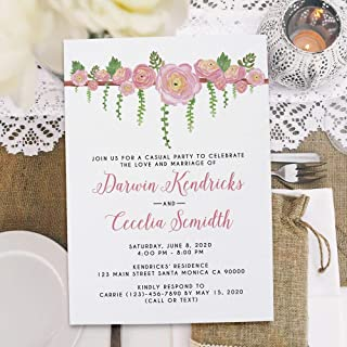 Rustic Floral Garland Reception Invitation Cards Floral Ranunculus & Succulent Watercolor, Casual Outdoor Elopement Party Cards, Floral Pink Invitation Card