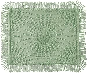 Collections Etc Solid-Colored Sunburst Chenille Fringe Border Pillow Sham - Year-Round Décor for Bedroom, Sage, Sham