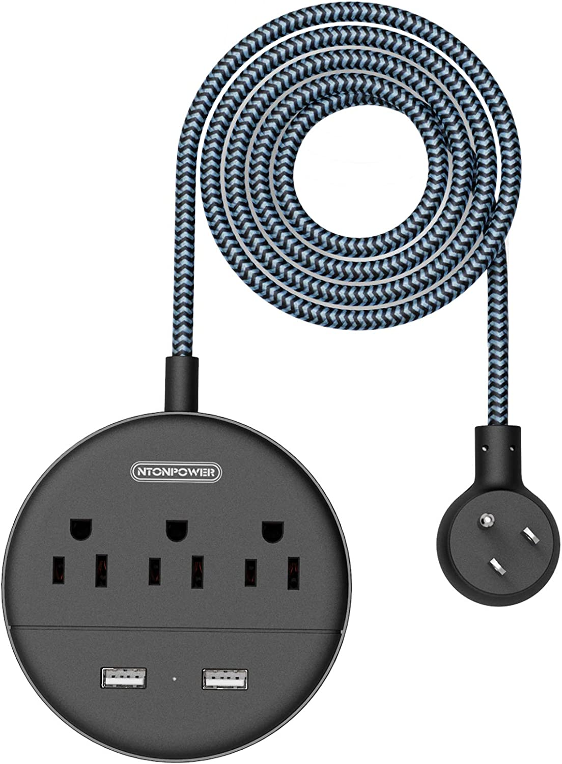 NTONPOWER Braided Power Strip Flat Plug with USB, 5ft Power Cord, Compact Desktop Charging Station with 3 Outlets 2 USB Ports, ETL Listed, Wall Mount Small Size for Dorm Nightstand Home Office, Black