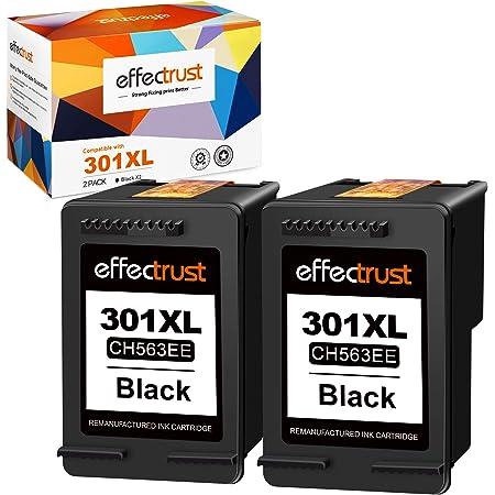 Effectrust Cartuccia di inchiostro rigenerata per HP 301 301XL perHP Deskjet 1000 1050 1510 1512 2050 2050A 2510 2540 3050 Officejet 2620 4630 4500 5530 4502 Stampante(2 nere).
