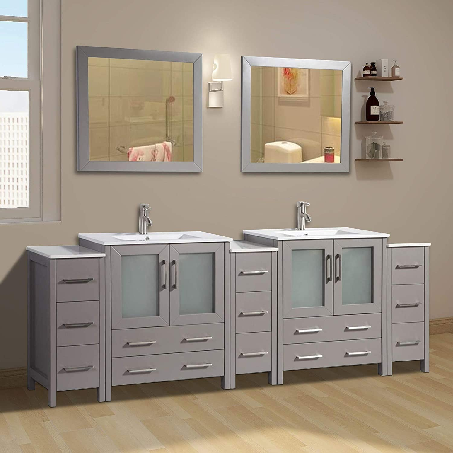 Buy Vanity Art 96 Inch Double Sink Modern Bathroom Vanity Compact Set 2 Shelves 13 Dove Tailed Drawers Ceramic Top Under Mount Sink Bathroom Cabinet With Two Free Mirrors Va3030 96 G Online In Indonesia B01jrl93ku