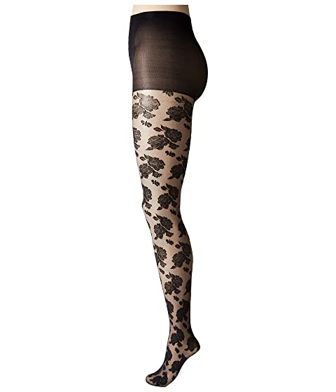 b024257f828 HUE Sheer Floral Lace Tights with Control Top at Zappos.com