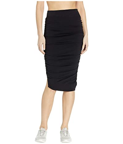 Hard Tail Shirred Poet Skirt (Black) Women