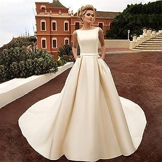 ztmyqp Simplicidad Elegante Vestido de Novia Scoop Elegante Arco sin Respaldo Sexy Satén Suave Simplicidad Elegante Vestid...