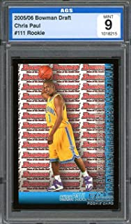 2005-06 bowman draft #111 CHRIS PAUL new orleans hornets rookie card AGS 9 Graded Card