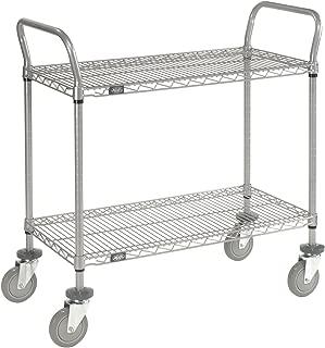 Wire Shelf Utility Cart, 2 Shelves, 800 Lb. Capacity, 36x18x38