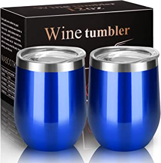 MASCOTKING Wine Tumbler With Non-Slip Bases-12 oz Double Wall Stainless Steel Stemless Insulated Wine Glass with Lid-Father's Day Gifts (2 PACK, Glass Blue 02)