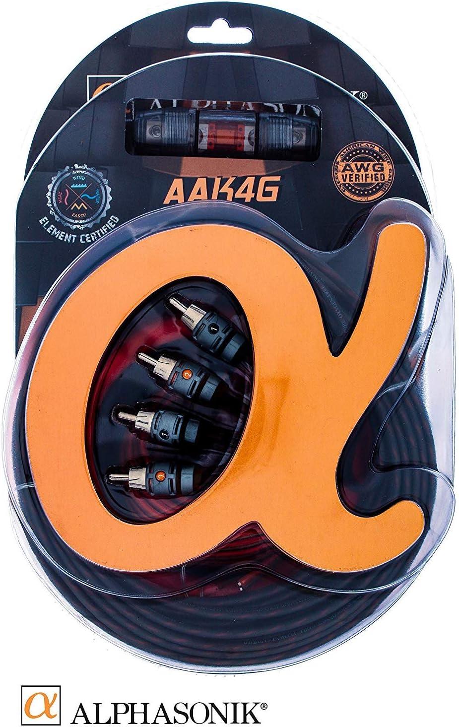 Standard Element Certified Amp Install Kit Exceeds AWG Alphasonik AAK4G Premium 4-Gauge Complete Car Amplifier Installation Kit Hyper-Flex Power American Wire Gauge Ground Speaker Wire RCA Cable