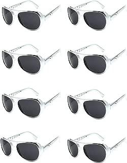 8 Pairs Elvis Rockstar 50's, 60's Style Aviator Shades, Silver Celebrity Sunglasses