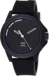 Tommy Hilfiger 1791624 Mens Quartz Watch, Analog Display and Silicone Strap, Black