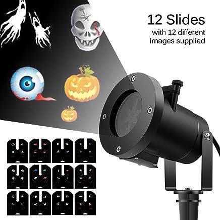 ingleby 假日 LED 投影机圣诞装饰移动灯 12 种图案可更换滑块室内外花园防水草坪灯(黑色)