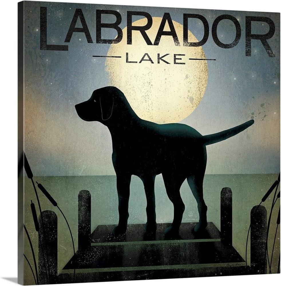 Moonrise Black Large special price !! Dog - Labrador Lake Ar Canvas Art Print Tulsa Mall Wall