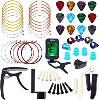 Auihiay 58 PCS Guitar Accessories Kit Including Guitar Strings, Picks, Capo, Thumb Finger Picks, String Winder, Bridge Pins, Pin Puller, Pick Holder, Finger Protect