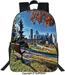 Laptop Backpack Park Bench Overlooking The Skyline of Calgary Alberta During Autumn Tranquil Urban (15.75