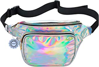 Shiny Neon Fanny Bag for Women Rave Festival Hologram Bum Travel Waist Pack (Silver)