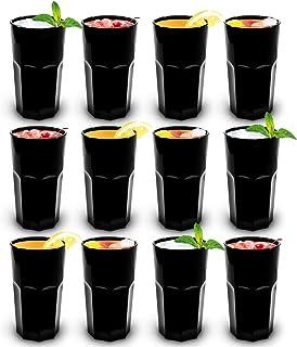 RB Vasos Retro Negro Plástico Premium Irrompible Reutilizable 30cl, Set de 12
