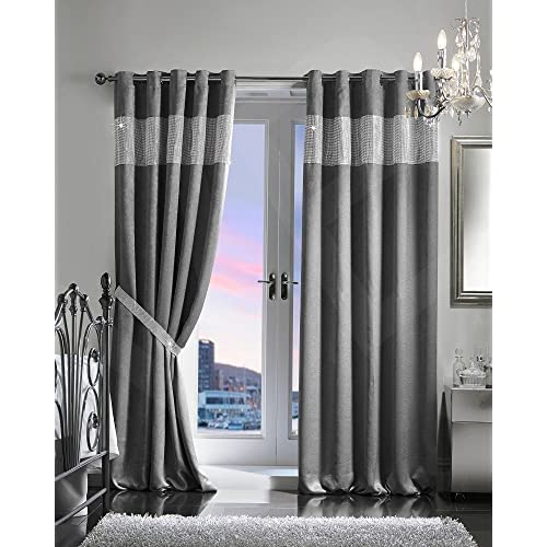 Grey Silver Curtains Amazon Co Uk
