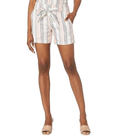 Liverpool Paper Bag Tie Front Porkchop Striped Shorts in Hot Coral Multiple Stripe Women