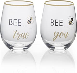 Mikasa Stemless Wine Glass Gift Set, 18-Ounce, Bee True/Bee You