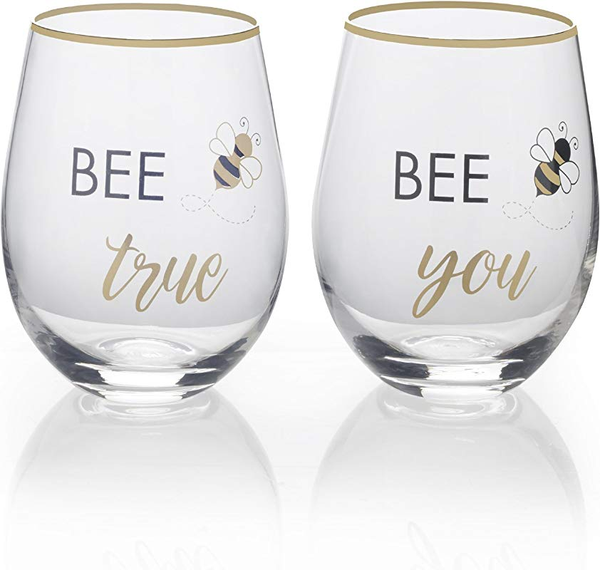 Mikasa Stemless Wine Glass Gift Set 18 Ounce Bee True Bee You