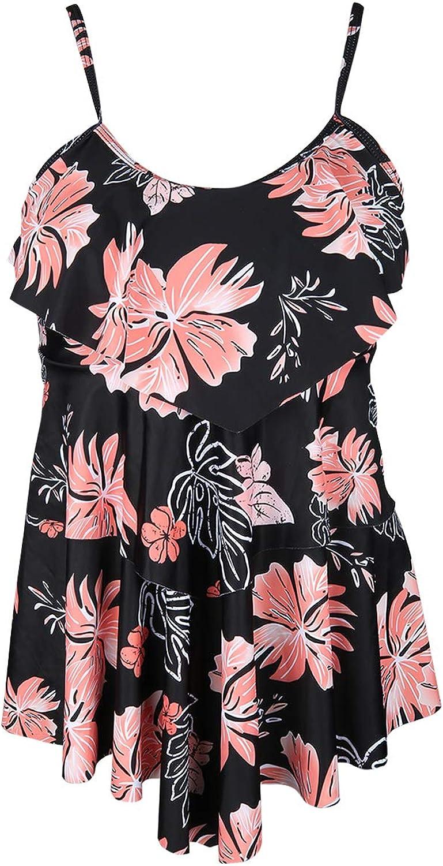 Holipick Ruffle Tankini Top Swimsuits for Women Swim Tops Flowy Layered Flounce Bathing Suit Top No Bottom
