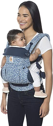Ergobaby Carrier, 360 All Carry Positions Baby Carrier, Batik Indigo/Blue/White