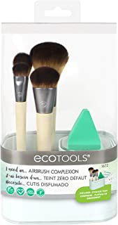 EcoTools Airbrush Complexion Kit, Includes 1 Makeup Wedge, 4 Brushes, 3 Beauty Look Cards, Convenient Storage Cup, Full Face-Perfecting Makeup Brush Set