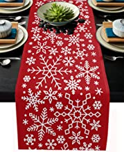 Findamy Merry Christmas Table Runner 13x70 inch Linen Burlap Dining Table Cloth Runners Non Slip for Home Kitchen Party We...