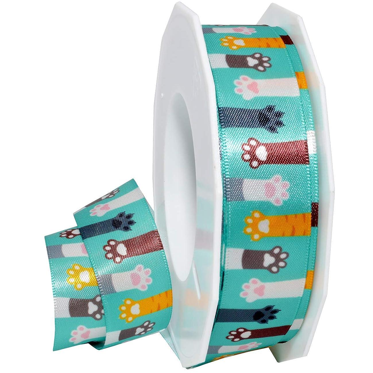 Morex Ribbon 5682 Precious Pets - Cat Paws Ribbon, 7/8 inch by 20 Yards, Aqua