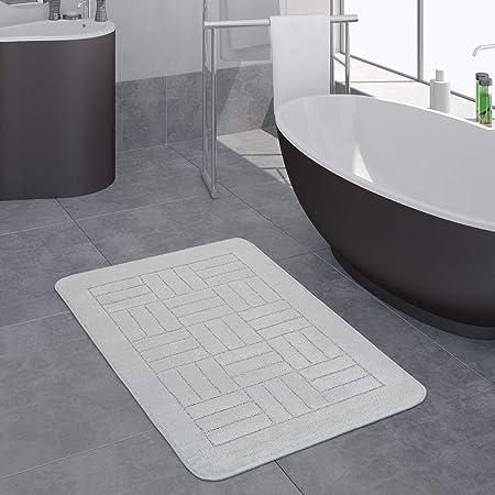 Dimensione:40x55 cm Tappeto Bagno Moderno Antiscivolo Scendibagno Impronta dei Piedi Monocolore Grigio