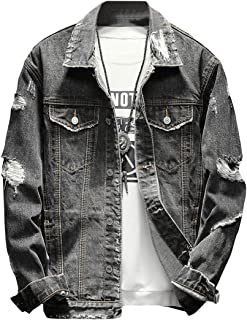 Fubotevic Mens Distressed Washed Ripped Distressed Retro Turn Down Collar Button Down Denim Jacket Coat Outwear