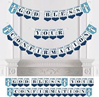 Big Dot of Happiness Confirmation Blue Elegant Cross - Boy Religious Party Bunting Banner - Party Decorations - God Bless Your Confirmation