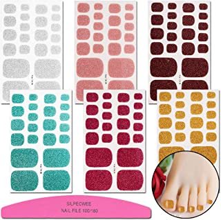 SILPECWEE 6 Sheets Adhesive Nail Art Polish Stickers Tips Glitter Design Nail Wraps Decals Manicure Strips Set And 1Pc Nail File